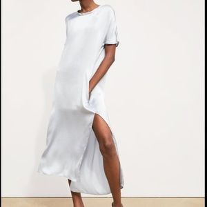 Zara Satin Dress Gray Silver Pockets Slit 2303/018